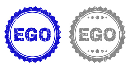 Grunge EGO stamp seals isolated on a white background. Rosette seals with grunge texture in blue and gray colors. Vector rubber stamp imitation of EGO title inside round rosette.