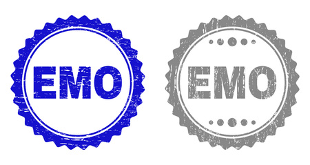 Grunge EMO stamp seals isolated on a white background. Rosette seals with grunge texture in blue and grey colors. Vector rubber overlay of EMO tag inside round rosette.