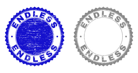 Grunge ENDLESS stamp seals isolated on a white background. Rosette seals with grunge texture in blue and gray colors. Vector rubber stamp imitation of ENDLESS caption inside round rosette.
