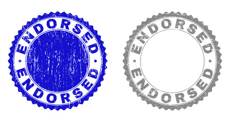 Grunge ENDORSED stamp seals isolated on a white background. Rosette seals with grunge texture in blue and gray colors. Vector rubber stamp imitation of ENDORSED caption inside round rosette.