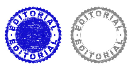 Grunge EDITORIAL stamp seals isolated on a white background. Rosette seals with grunge texture in blue and gray colors. Vector rubber stamp imprint of EDITORIAL title inside round rosette.