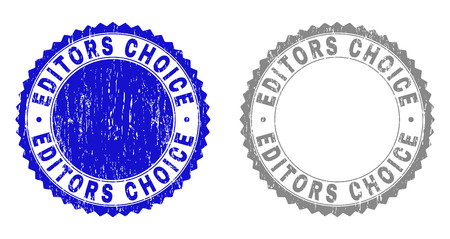 Grunge EDITORS CHOICE stamp seals isolated on a white background. Rosette seals with grunge texture in blue and grey colors. Vector rubber stamp imprint of EDITORS CHOICE title inside round rosette.