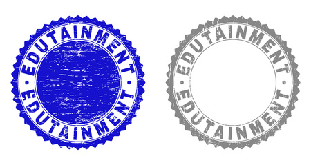 Grunge EDUTAINMENT stamp seals isolated on a white background. Rosette seals with grunge texture in blue and grey colors. Vector rubber stamp imitation of EDUTAINMENT title inside round rosette. Ilustração