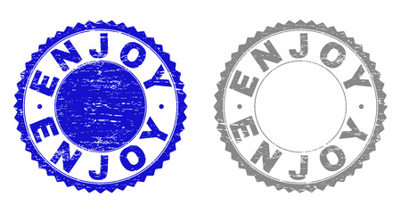 Grunge ENJOY stamp seals isolated on a white background. Rosette seals with grunge texture in blue and gray colors. Vector rubber stamp imprint of ENJOY label inside round rosette. Ilustrace