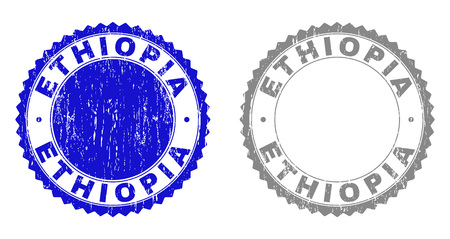 Grunge ETHIOPIA stamp seals isolated on a white background. Rosette seals with grunge texture in blue and gray colors. Vector rubber stamp imitation of ETHIOPIA caption inside round rosette.