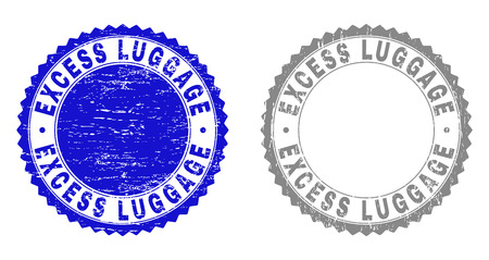 Grunge EXCESS LUGGAGE stamp seals isolated on a white background. Rosette seals with grunge texture in blue and gray colors. Vector rubber stamp imitation of EXCESS LUGGAGE tag inside round rosette.