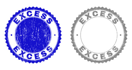 Grunge EXCESS stamp seals isolated on a white background. Rosette seals with distress texture in blue and gray colors. Vector rubber overlay of EXCESS label inside round rosette. Illustration