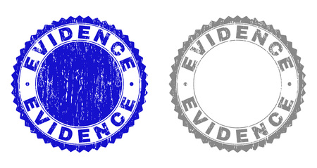 Grunge EVIDENCE stamp seals isolated on a white background. Rosette seals with grunge texture in blue and grey colors. Vector rubber stamp imprint of EVIDENCE tag inside round rosette.  イラスト・ベクター素材