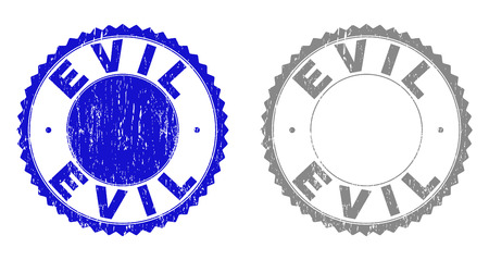 Grunge EVIL stamp seals isolated on a white background. Rosette seals with grunge texture in blue and gray colors. Vector rubber stamp imprint of EVIL tag inside round rosette. Vettoriali