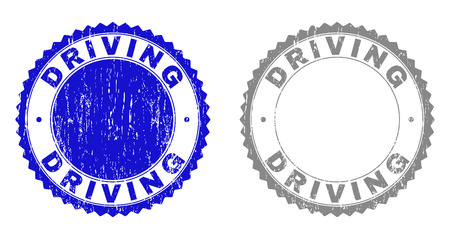 Grunge DRIVING stamp seals isolated on a white background. Rosette seals with grunge texture in blue and grey colors. Vector rubber overlay of DRIVING title inside round rosette.