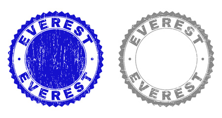 Grunge EVEREST stamp seals isolated on a white background. Rosette seals with grunge texture in blue and grey colors. Vector rubber stamp imprint of EVEREST tag inside round rosette. Illustration