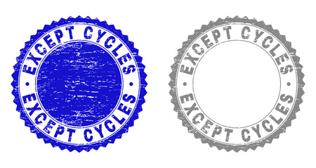 Grunge EXCEPT CYCLES stamp seals isolated on a white background. Rosette seals with grunge texture in blue and grey colors. Vector rubber overlay of EXCEPT CYCLES text inside round rosette. Illusztráció