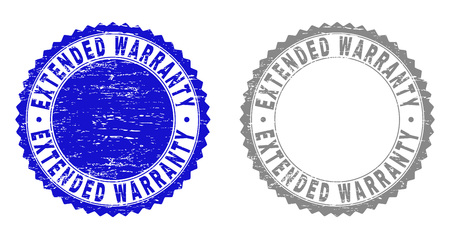 Grunge EXTENDED WARRANTY stamp seals isolated on a white background. Rosette seals with grunge texture in blue and grey colors. Illustration