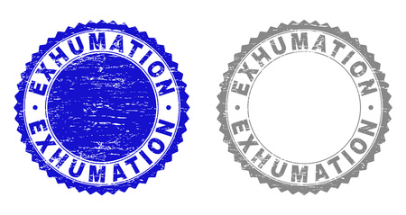 Grunge EXHUMATION stamp seals isolated on a white background. Rosette seals with grunge texture in blue and gray colors. Vector rubber stamp imprint of EXHUMATION caption inside round rosette.