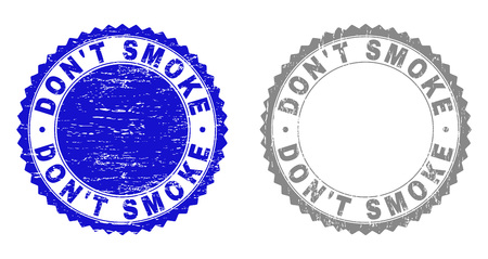Grunge DONT SMOKE stamp seals isolated on a white background. Rosette seals with grunge texture in blue and grey colors. Vector rubber stamp imitation of DONT SMOKE tag inside round rosette.