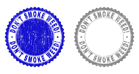Grunge DONT SMOKE WEED! stamp seals isolated on a white background. Rosette seals with grunge texture in blue and grey colors. Vector rubber watermark of DONT SMOKE WEED! title inside round rosette.