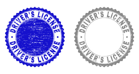 Grunge DRIVERS LICENSE stamp seals isolated on a white background. Rosette seals with grunge texture in blue and gray colors. Vector rubber watermark of DRIVERS LICENSE text inside round rosette.