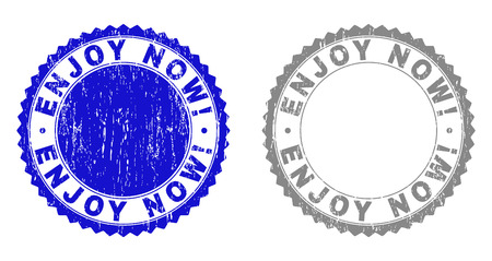 Grunge ENJOY NOW! stamps isolated on a white background. Rosette seals with grunge texture in blue and grey colors. Vector rubber stamp imprint of ENJOY NOW! text inside round rosette. Ilustrace