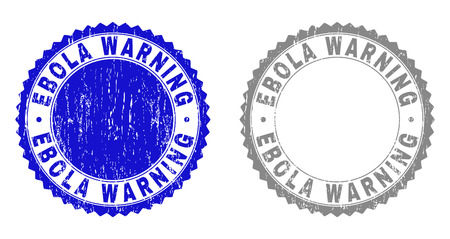 Grunge EBOLA WARNING stamp seals isolated on a white background. Rosette seals with grunge texture in blue and grey colors. Vector rubber stamp imprint of EBOLA WARNING title inside round rosette.