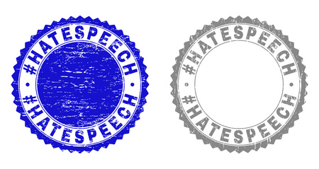 Grunge #HATESPEECH stamp seals isolated on a white background. Rosette seals with grunge texture in blue and gray colors. Vector rubber stamp imitation of #HATESPEECH tag inside round rosette.