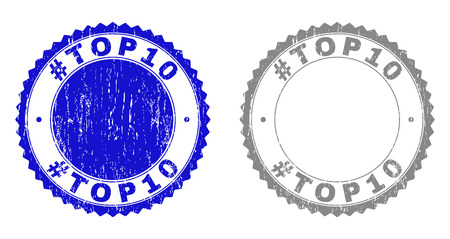 Grunge #TOP10 stamp seals isolated on a white background. Rosette seals with grunge texture in blue and gray colors. Vector rubber overlay of #TOP10 tag inside round rosette.