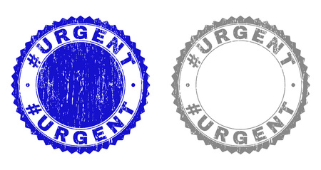 Grunge #URGENT stamp seals isolated on a white background. Rosette seals with grunge texture in blue and gray colors. Vector rubber stamp imprint of #URGENT caption inside round rosette.