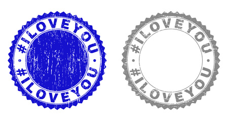 Grunge #ILOVEYOU stamp seals isolated on a white background. Rosette seals with grunge texture in blue and gray colors. Vector rubber stamp imprint of #ILOVEYOU tag inside round rosette. Vectores