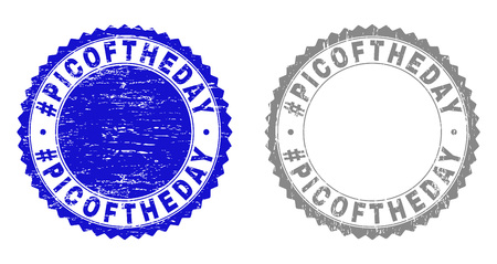 Grunge #PICOFTHEDAY stamp seals isolated on a white background. Rosette seals with distress texture in blue and grey colors. Vector rubber stamp imitation of #PICOFTHEDAY text inside round rosette.