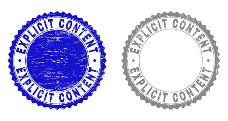 Grunge EXPLICIT CONTENT stamp seals isolated on a white background. Rosette seals with grunge texture in blue and grey colors. Vector rubber watermark of EXPLICIT CONTENT title inside round rosette. Illustration