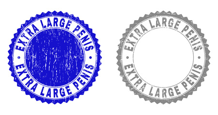 Grunge EXTRA LARGE PENIS stamp seals isolated on a white background. Rosette seals with grunge texture in blue and gray colors. Vector rubber watermark of EXTRA LARGE PENIS title inside round rosette.