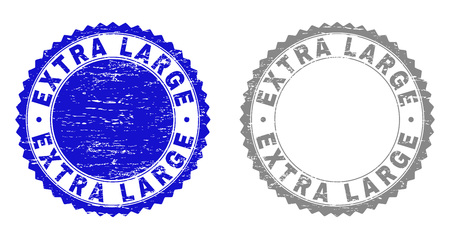 Grunge EXTRA LARGE stamp seals isolated on a white background. Rosette seals with grunge texture in blue and gray colors. Vector rubber stamp imitation of EXTRA LARGE label inside round rosette.