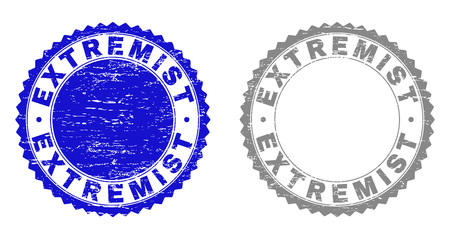 Grunge EXTREMIST stamp seals isolated on a white background. Rosette seals with distress texture in blue and grey colors. Vector rubber stamp imprint of EXTREMIST label inside round rosette. Ilustração