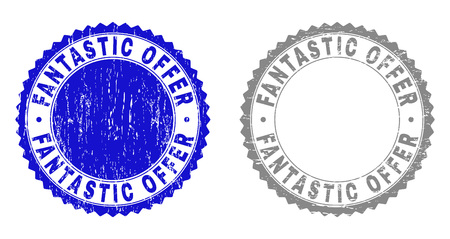 Grunge FANTASTIC OFFER stamp seals isolated on a white background. Rosette seals with distress texture in blue and gray colors. Vector rubber overlay of FANTASTIC OFFER tag inside round rosette. Illustration