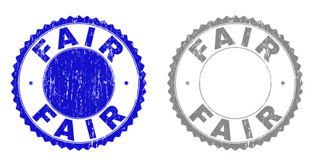 Grunge FAIR stamp seals isolated on a white background. Rosette seals with grunge texture in blue and grey colors. Vector rubber stamp imprint of FAIR text inside round rosette.