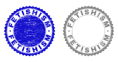 Grunge FETISHISM stamp seals isolated on a white background. Rosette seals with grunge texture in blue and gray colors. Vector rubber overlay of FETISHISM label inside round rosette.