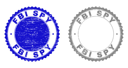 Grunge FBI SPY stamp seals isolated on a white background. Rosette seals with grunge texture in blue and gray colors. Vector rubber overlay of FBI SPY tag inside round rosette. Illustration