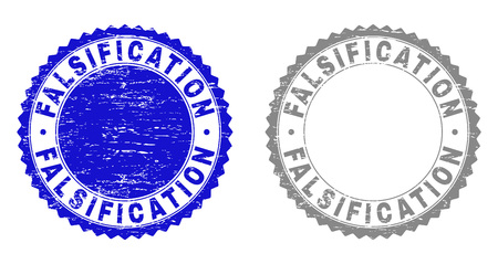 Grunge FALSIFICATION stamp seals isolated on a white background. Rosette seals with grunge texture in blue and grey colors. Vector rubber overlay of FALSIFICATION tag inside round rosette.