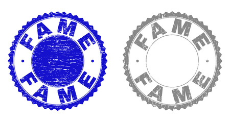 Grunge FAME stamp seals isolated on a white background. Rosette seals with grunge texture in blue and gray colors. Vector rubber stamp imprint of FAME label inside round rosette. 일러스트