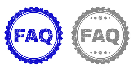 Grunge FAQ stamp seals isolated on a white background. Rosette seals with grunge texture in blue and gray colors. Vector rubber stamp imitation of FAQ tag inside round rosette. 向量圖像