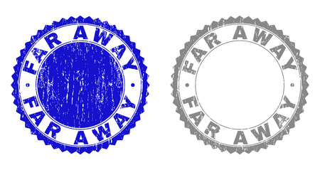 Grunge FAR AWAY stamp seals isolated on a white background. Rosette seals with grunge texture in blue and grey colors. Vector rubber overlay of FAR AWAY title inside round rosette.