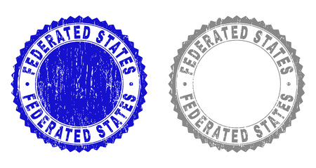 Grunge FEDERATED STATES stamp seals isolated on a white background. Rosette seals with distress texture in blue and grey colors.