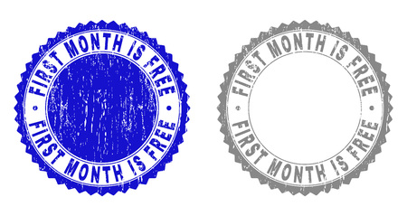 Grunge FIRST MONTH IS FREE stamp seals isolated on a white background. Rosette seals with grunge texture in blue and gray colors.