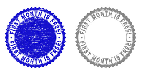 Grunge FIRST MONTH IS FREE! stamp seals isolated on a white background. Rosette seals with distress texture in blue and gray colors. Illustration