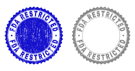 Grunge FDA RESTRICTED stamp seals isolated on a white background. Rosette seals with distress texture in blue and grey colors. Illustration