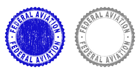 Grunge FEDERAL AVIATION stamp seals isolated on a white background. Rosette seals with grunge texture in blue and gray colors.