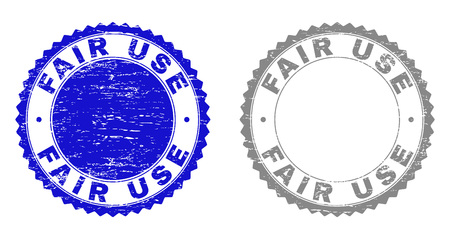 Grunge FAIR USE stamp seals isolated on a white background. Rosette seals with grunge texture in blue and gray colors. Vector rubber stamp imitation of FAIR USE text inside round rosette. Çizim