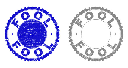 Grunge FOOL stamp seals isolated on a white background. Rosette seals with grunge texture in blue and gray colors. Vector rubber stamp imitation of FOOL caption inside round rosette.