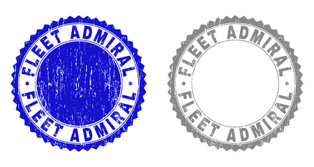 Grunge FLEET ADMIRAL stamp seals isolated on a white background. Rosette seals with grunge texture in blue and gray colors. Vector rubber stamp imprint of FLEET ADMIRAL title inside round rosette.