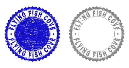 Grunge FLYING FISH COVE stamp seals isolated on a white background. Rosette seals with distress texture in blue and gray colors. Illustration