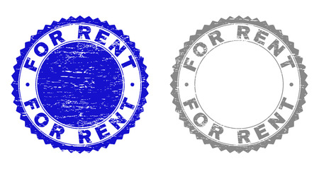 Grunge FOR RENT stamp seals isolated on a white background. Rosette seals with grunge texture in blue and gray colors. Vector rubber stamp imitation of FOR RENT label inside round rosette.